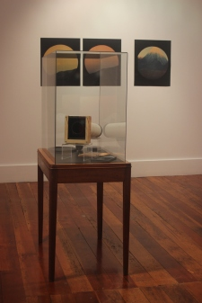 Darren Glass'Taranaki AM #1 & #2' (2008-2010)'Wood Veneer Cosmo Flying Disc' (1999-2005)'Telephoto slit – Ngauruhoe Cam' (2006-2007)Courtesy of Anna Miles Gallery .